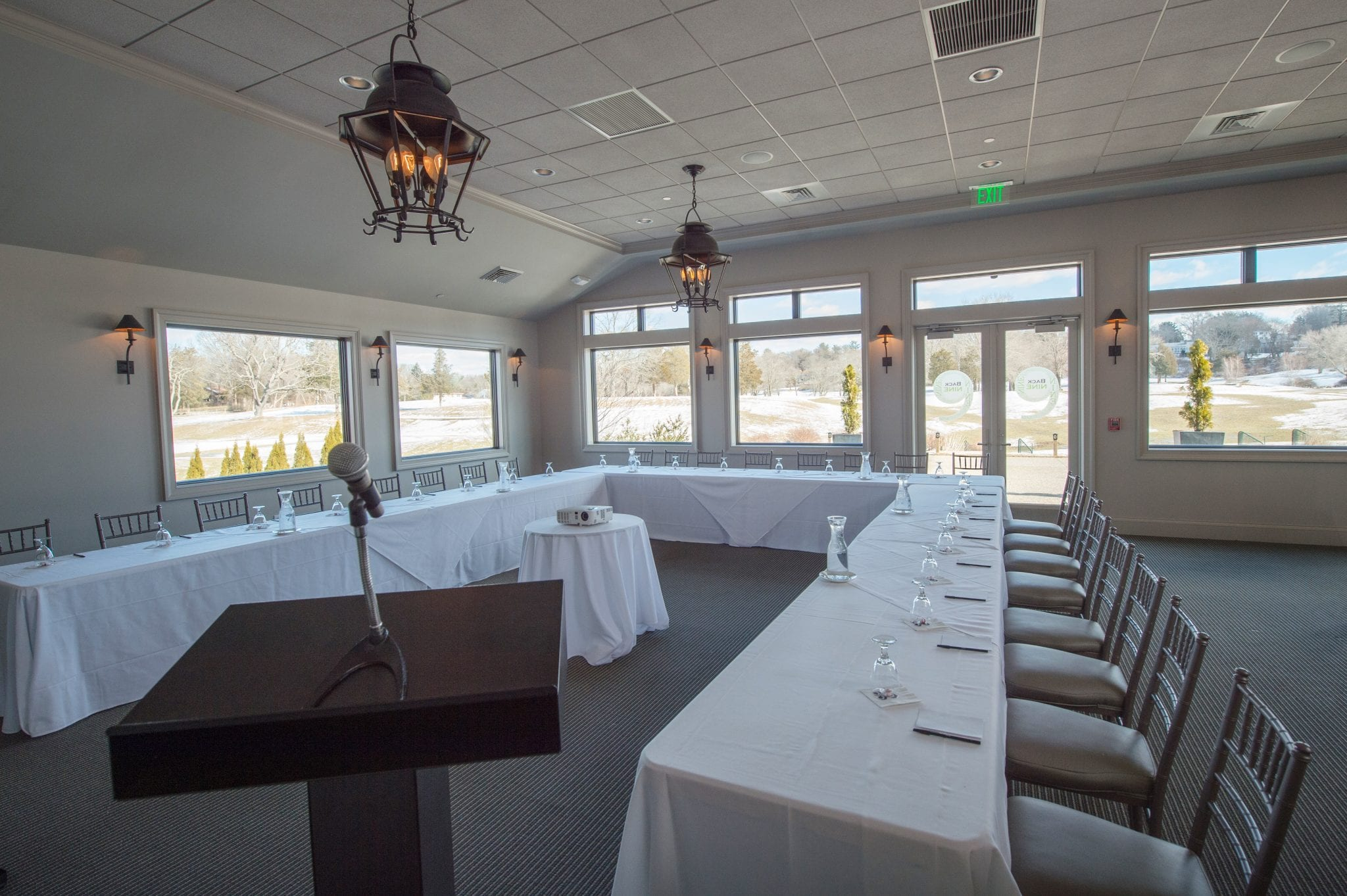 Banquet room with tables.